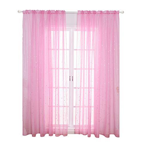 Vosarea - tende per finestra in voile trasparente, con motivo a stelle, con tasca per asta, per cameretta dei bambini, 100 x 270 cm, colore: rosa