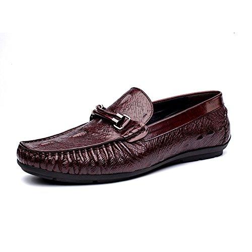 WZG Die neuen Krokodilmuster Lederschuhe Männer Peas Schuhe atmungsaktive Leder treibende Schuhe Peas Schuhe Gezeitenmänner beiläufige Schuhe, flache Schuhe wine red