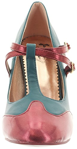 Dancing Days by Banned T-Strap Pumps MODERN LOVE BND139 Teal-Bordeaux