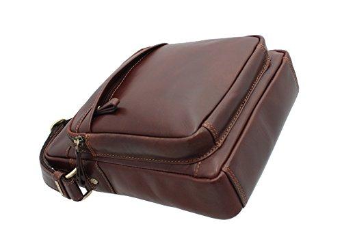 Pelle Visconti Cruz Vintage Tan Messenger borsa da viaggio VT1 Marrone vintage