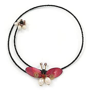 Shell Butterfly & Freshwater Pearl Flower Flex Wire Choker Necklace - Adjustable 0