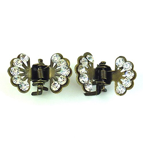 rougecaramel - Accessoires cheveux - Mini pince crabe fleur en strass 2pcs - bronze