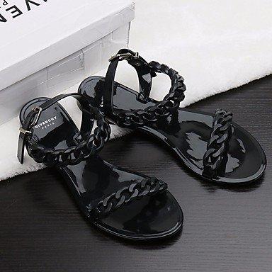 zhENfu Women's Sandals Comfort PU Spring Summer Casual Red Black White Flat Black