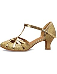 Roeua femenino EC5-F11 satín latino la danza el zapato