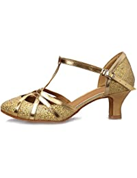 aab87c1d4f HROYL Women Dance Shoes C5-W11 Leather Latin/Chacha/Samba/Modern/
