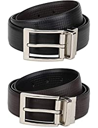 RausD NEWYORK Mens Belt-Leather Dress Belt for Male Classic Black & Reversible Brown side by RausD NewYork