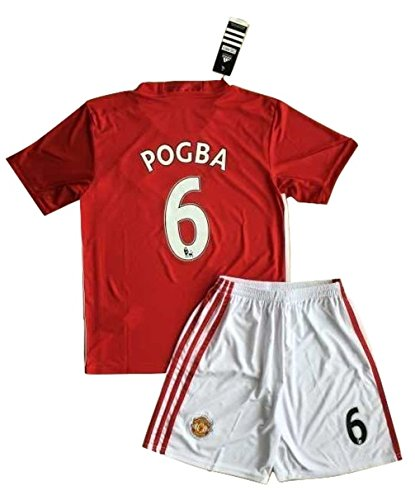 Paul Pogba # 6 2016–2017 Manchester United Home Trikot und Shorts für die Jugend/Kinder, 9-10 Years Old (Trikot United Home)