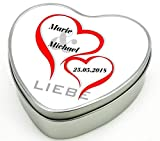 bedruckte Geschenkdose Herz aus Metall - Motiv 2 (Liebe) mit Ihrem Wunschnamen mit Datum
