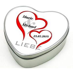 bedruckte Geschenkdose Herz aus Metall – Motiv 2 (Liebe) mit Ihrem Wunschnamen mit Datum