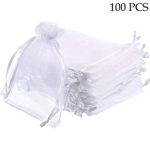 cke Geschenkbeutel Organza Taschen Mesh Favor Taschen Organza Beutel Candy Bag 100 Hochzeit Schmuck Beutel für Weihnachten Geburtstag Valentine Baby ()