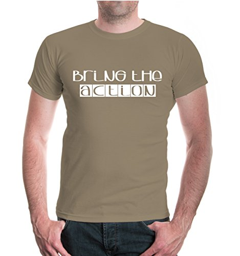 buXsbaum® T-Shirt Bring the action Khaki-White