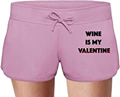 Idea Regalo - Wine is my Valentine Sweat Shorts Estivi per Donne Summer Sweat Shorts For Women & Ladies | 80% Cotton-20%Polyester| DTG Printing| Unique & Custom Small
