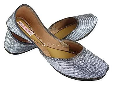 Fulkari Women's Soft Leather Bite and Pinch Free Zarri Work Embroidered Comfortable Casual Jutis Ethnic Flat Shoes (35, Gunmetal Silver)