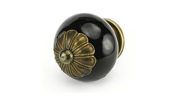 Round Black Ceramic Knobs Kitchen Cabinet Drawer Pulls or Handles #C56FF~ Set//4