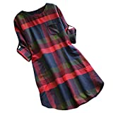 TEBAISE Mid Season Mode Frauen Outdoor Dating Home Party Casual Patchwork 1/2 Ärmeln Baumwolle Leinen Lose Taschen Tunika Kleid Rock Karneval Fasching Fasnacht Business Cocktail Party Freizeitkleid