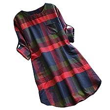 Vestidos Mujer Casual Verano Mosstars Vestido Vendimia señoras Mujeres Tela Escocesa Larga de Manga Suelta oscilación Bolsillo Vestidos de baño Faldas Mujer Verano 2019 polleras Cortas