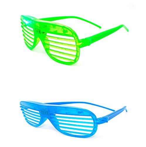 Ultra ® 1 grün 1 blaue Farben blinken Retro-LED-Brille Schlitz für Erwachsene und Kinder Parties Party-Events Raves Dance Clubs und Kostüm Parties Pink Green Blue lila weiß gefärbt Schlitz Farben Neuheit Brillen Glowing Licht up-Tracks