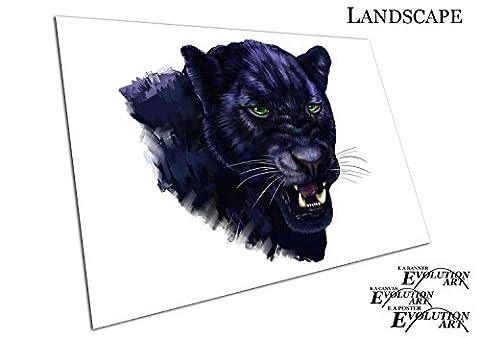 Lila Schwarz Illustration Art Großer Katze Panther grünen Augen Art, A1 - RUB