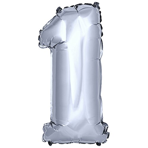 DekoRex® Folienballon Zahlenballon Luftballon Geburtstag Deko 40cm Silber Zahl: 1