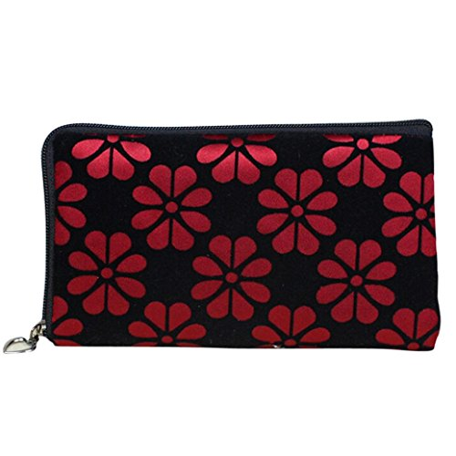 DZT1968 Women Printing Flower Coins Change Purse Clutch Phone Key Bags (Red)