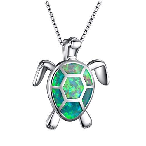 auen charme niedlichen pullover halskette opal schildkröte anhänger schmuck ornament ()