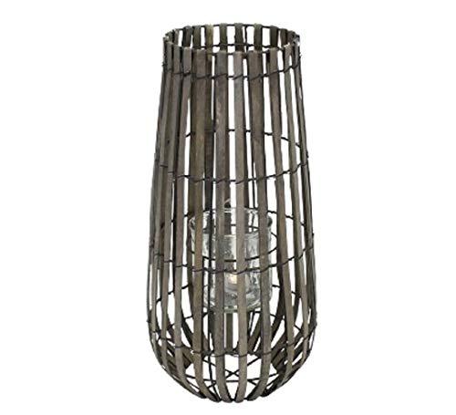 Werner Voß Windlicht Laterne H= 43 cm grau gewischtes Holz Glas Maritim Indoor Outdoor