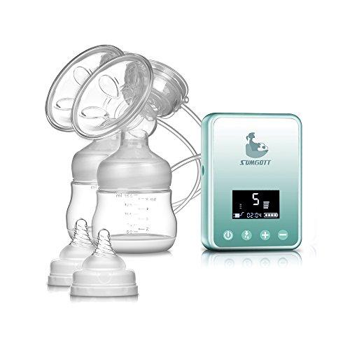 Elektrische Milchpumpe - SUMGOTT Wiederaufladbar Digitale LCD-Anzeige Dual Brustpumpe Stillen Automatische Massage (2-stufen-pumpe Vakuum)