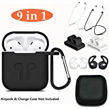 AirPods Case,Aheadife 9 In 1 Airpods Accessories Earphone Headphone Set Silicone Protective Cover Compatible For Apple Airpods Charging Case With EarHook,Keychain,Airpods Strap And Watch Band Holder