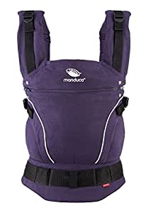 manduca Babytrage > PureCotton 2018 Purple < Optimierte 3-P-Sicherheitsschnalle & Neues Stoff-Finishing (Soft & Fusselfrei) Bio-Baumwolle Bauch- Hüft- und Rückentrage für Kinder von 3,5- 20kg, lila