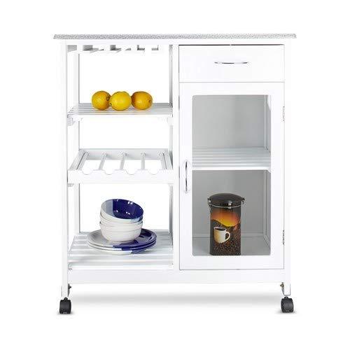 Relaxdays Küchenwagen HxBxT: 88 x 76 x 48 cm mobiler Küchentrolley aus Holz mit 4 Rollen und 3 Ablageflächen als Weinregal  zum Servieren und großzügigem Stauraum mit Schrank, weiß
