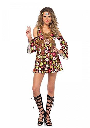 Starflower Hippie Damen-Kostüm von Leg Avenue Seventies Woodstock Blumen Kleid Weste, Größe:S