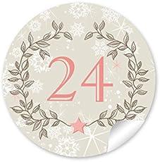 """24 Adventskalenderzahlen in zartem beige / rosa mit Weihnachtskranz und Zahlen 1-24 im """"Retro Vintage Look"""" für einen Adventskalender zum selber basteln/ Papiertüten • selbstklebende Weihnachtsaufkleber/ Sticker / Etiketten (Format 4 cm, rund, matt )"""
