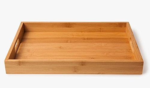 Bandeja de de bambú , para servir comidas (40 x 28 x 4,5 cm, 580 g) - 3