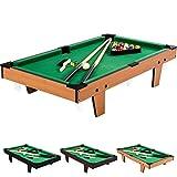 Mini Table de Billard 92x52x19cm, Couleur au Choix Bois Clair, Bois foncé ou Noir + Accessoires