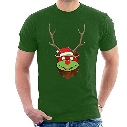 TMNT Raphael Christmas Antler Head Men's T-Shirt Bottle Green