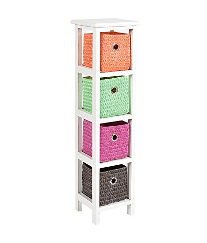 ts-ideen Kommode Schrank Standregal 80 cm Höhe Bad Regal weiß mit 4 Körben in orange grün pink braun