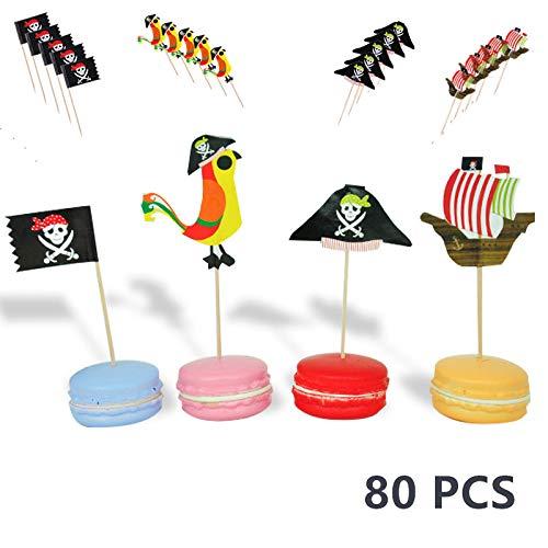 Oumezon 80 stücke Pirate Kuchen Topper Cupcake Picks Deko Kuchendekoration Pirate Kuchendeko für Kinder Geburtstag Party Cocktail Zahnstocher Flaggen Kuchen Topper Piraten Party