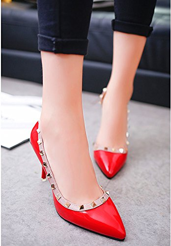 Minetom Frühjahr Sommer Herbst Mode Dame Wies High Heels Asakuchi Niet Stöckelschuhen Die Füße Schuhe Pumps Parteien Hochzeit Rot