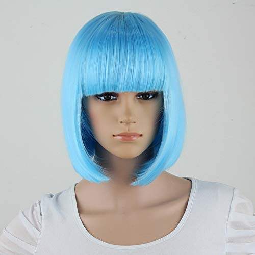 COOOOEENS Synthetische 10 Zoll gerade Kurze Bob Perücken Pony hellblaue Farbe für Cosplay Perücke für Frauen weiblich (Hellblaue Kurze Perücke)