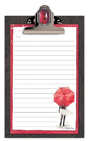 Red Umbrella in Paris Jeweled Clipboard with Lined Note Pad by Lily McGee (Jeweled Lily)