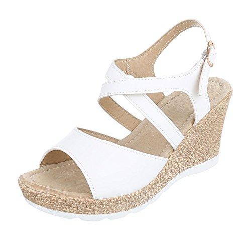 Keilsandaletten Damenschuhe Plateau Keilabsatz/ Wedge Keilabsatz Schnalle Ital-Design Sandalen / Sandaletten Weiß