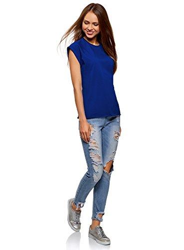 oodji Ultra Damen T-Shirt Basic Aus Baumwolle Blau (7502N)