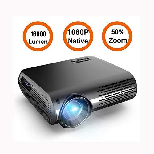 Ai LIFE Beamer Nativer 1080P LED Projektor 16000 Lumen Filmprojektor Unterstützt 4K-Video-Zoomfunktion ± 50 ° Digitale Trapezkorrektur 70.000 Std für Home Entertainment & PPT Business Präsentation