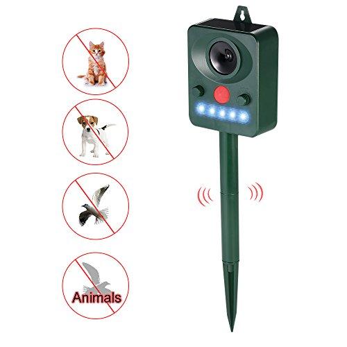 Decdeal Solar Ultraschall Tiervertreiber Vogelabwehr Maulwurfschreck Marderschreck mit LED Blinklicht, PIR Bewegungssensor