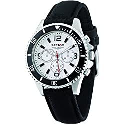 Sector Men's Quartz Watch with White Dial Chronograph Display and Black Leather Strap R3251161001