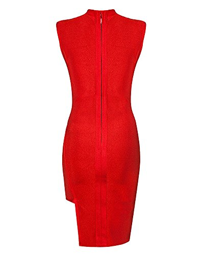 Whoinshop Damen Cut out Bodycon Kleid ärmellos Figurbetontes Bandage Cocktailkleid Rot