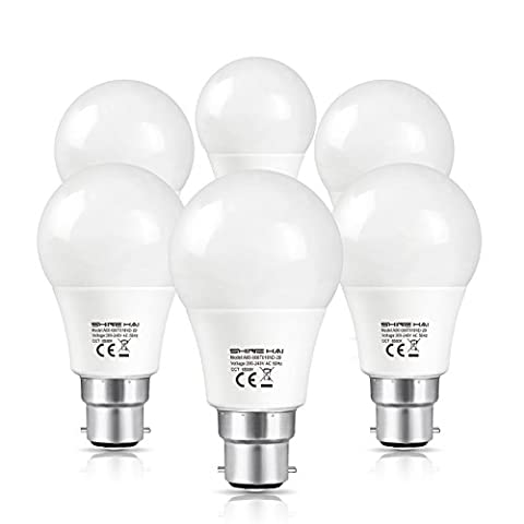 SHINE HAI BC B22 LED Bayonet Light Bulbs, 60W Incandescent Bulbs Equivalent, LED 8W Cool White A60 GLS Globe Bulbs, Super Bright 800Lm, Non-Dimmable, Bayonet LED Bulb, Energy Saving Light Bulbs,