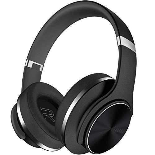 DOQAUS Cuffie Bluetooth, Autonomia 45 Ore Cuffie Wireless Pieghevole, paraorecchie di proteine molle di memoria, Microfono incorporato e modalità cablata,...