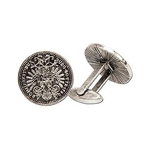 Alpenflüstern Manschettenknöpfe Trachten-Münzen antik-Silber-Farben API037