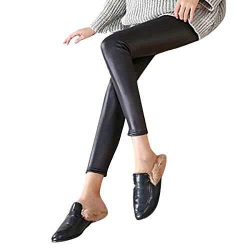 BaZhaHei Mujeres Pu Leggins cuero Skinny Elásticos pantalones...